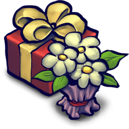 256x256 of Present Box and Flowers